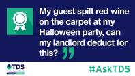 #AskTDS: My guest spilt red wine on the carpet at my Halloween party, can my landlord deduct for this?
